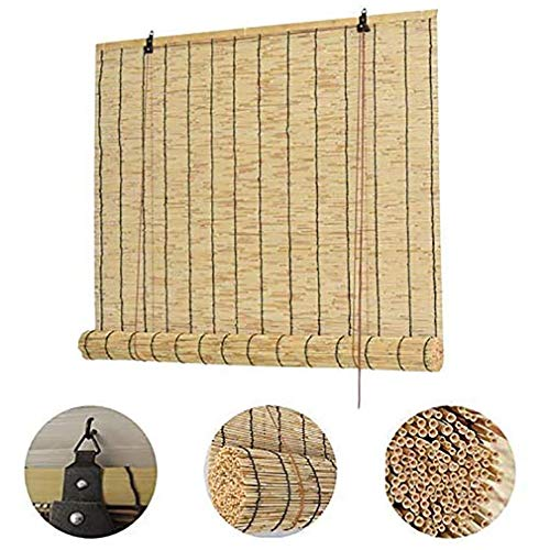 ZDDY Natural Bamboo Roller Shades-Reed Roll Up Window Blinds- Waterproof Retro Decorative Curtains for Outdoor/Indoor-Roman Shades,Heat Insulation. (Size : 150)