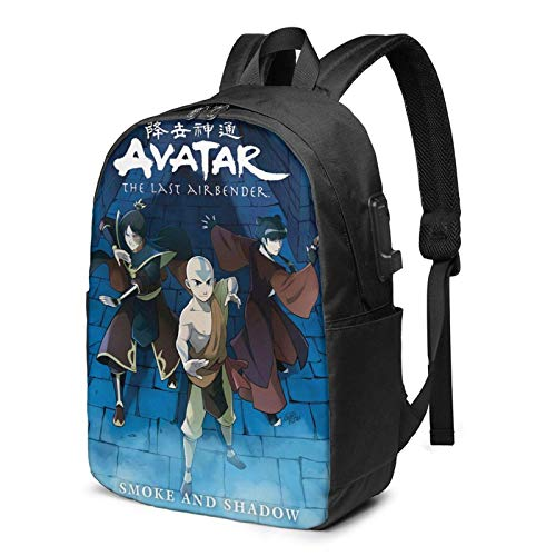 IUBBKI Men Women Packable Backpack with USB Charging Port, Water Resistant heat dissipation SchoolBag, Book Bags Daypack for Outdoor Running Work, Avatar The Last Airbender Anime Poster