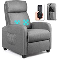 Giantex Padded Seat PU Leather Massage Reclining Chair (Grey)