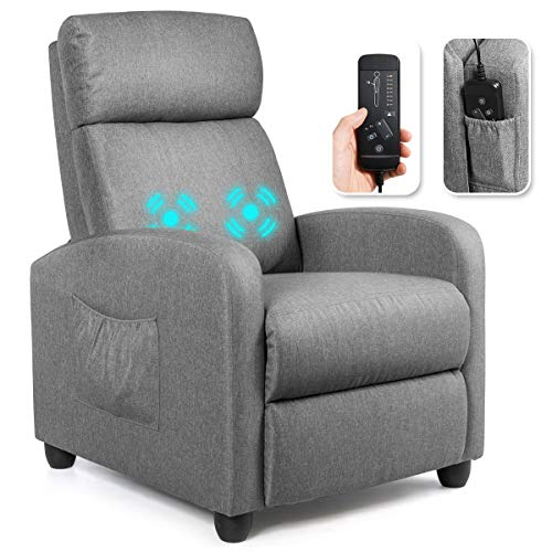 Giantex Recliner Chair for Living Room, Recliner Sofa Wingback Chair w/Massage Function, Padded Seat Linen Fabric Reclining Chair w/Side Pocket, Home Theater Seating Massage Recliner Easy Lounge Grey
