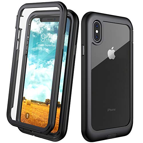 Eonfine iPhone X Case/iPhone Xs Case, Built-in Screen Protector Real 360° Full Body Protection Heavy Duty Shockproof Rugged Cover Skin for iPhone X/Xs 5.8inch (Black+Clear)