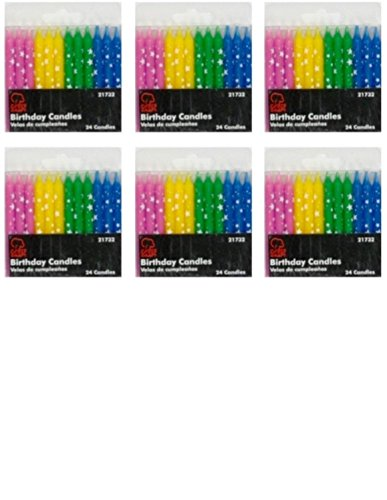Birthday Candles, Polka Dot Stars, Set of 6 Packs - Total of 144 candles