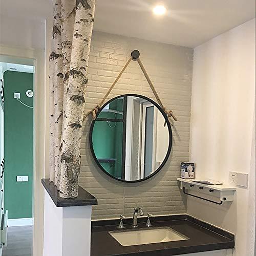 ZZKJBox Espejo de BañO Redondo con Cuerda de CáñAmo Gruesa, Espejo de Pared, Espejo Art Deco, Espejo de Vanidad, con SuspensióN de Cuerda de CáñAmo con Borde Negro,30×30cm/11.8×11.8in