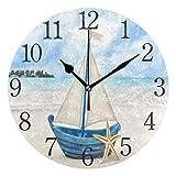 ISAOA - Reloj de pared con diseño de concha de mar de verano, silencioso, sin tictac, funciona con pilas, para cocina, oficina, baño, sala de estar, dormitorio