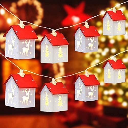 Stringa di luce natalizia Decorazione Luci Casa di Alce in Legno 5m 32LED Decorazione Della Stanza Della Lampada Della Stringa Alimentata A Batteria Luci Notte Lampada Ornamenti Albero Di Natale Luci
