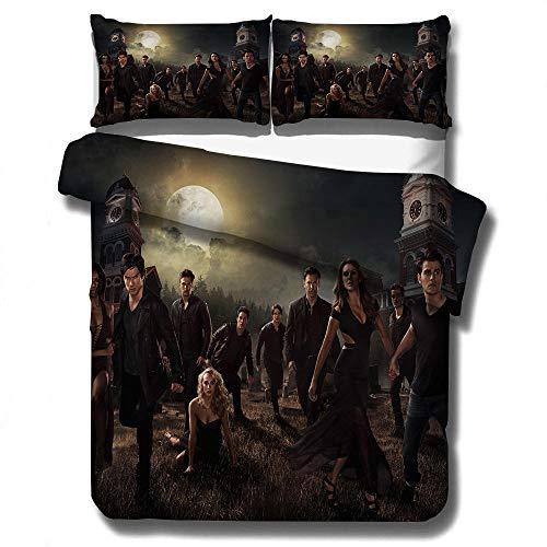 juego de cama con funda nórdica 3D de The Vampire Diaries, ropa de cama con funda edredón para adultos y adolescentes, textiles para el hogar tamaño completo suaves, cómodos-B_140x210cm (2pcs)