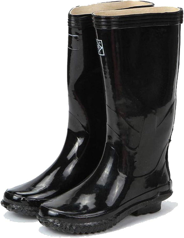 Nihiug Gummistiefel-Gummistiefel für Wet Weather Waterproof Regenschuhe Gummibearbeitungs-Schwarzwasserschuhe hohe Stiefel