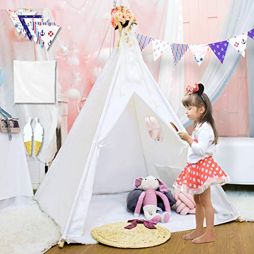 Sisticker Teepee Tent for Kids with Floor Mat+Feathers+ Bunting+Carry Bag- Kids Gifts for Girls and Boys Children Toys Foldable Large Playhouse Indoor and Outdoor (White)