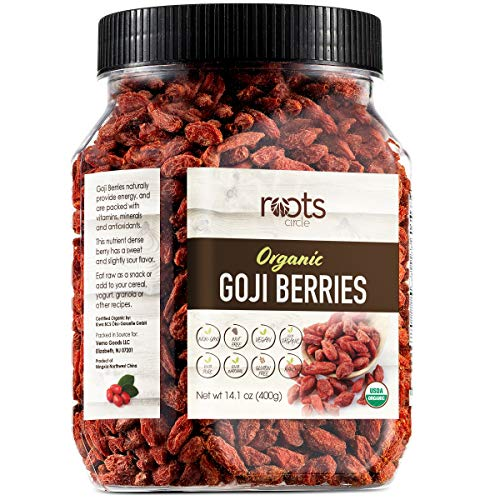 Roots Circle USDA Organic Dried Goji Berries | Bulk Supply of Goji Berry Fruit Superfood | Naturally Rich in Antioxidants to Support Healthy Skin | Raw, Natural, Vegan, Non-GMO, Kosher | 14.1oz Jar