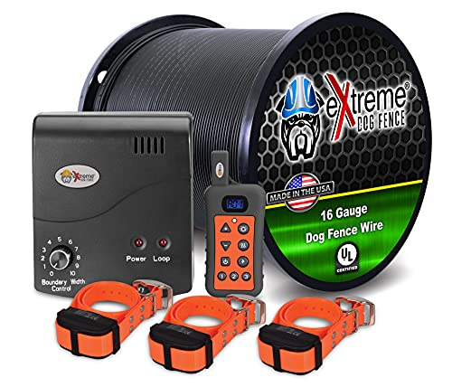 Electric Dog Fence + Remote Trainer - 3 Dog / 500' of 16 Gauge Underground Dog Fence Wire (Up to 1/3 Acre) - Dual Solution to Contain and Train Your Dog(s) with a Single Collar