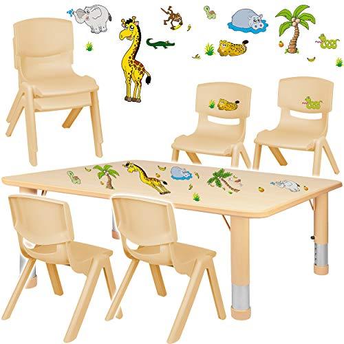 alles-meine.de GmbH Sitzgruppe für Kinder - Tisch + 6 Kinderstühle - Größen & Motiv & Farbwahl - Zootiere & Giraffe / Holz Farben - höhenverstellbar - 1 bis 8 Jahre - Plastik - f..