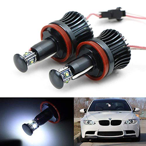 iJDMTOY (2 White H8 LED Angel Eyes Compatible with BMW 128i 135i 1M 328i 335i M3 535i 550i M5 Z4 X1 X5 X6, (2) Halo Ring Marker Bulbs Powered by 20W High Power 7000K CREE LED Lights