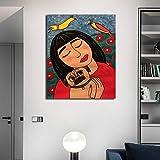 N / A Pintura sin Marco Chica Abstracta con Cartel de Lienzo de Arte de Pared de Perro y decoración gráfica del hogar ZGQ9053 60x90cm