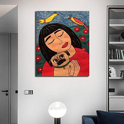 N / A Rahmenloses Gemälde Abstraktes Mädchen mit Hundewandkunst-Leinwandplakat und grafischer HauptdekorationZGQ9053 60x90cm