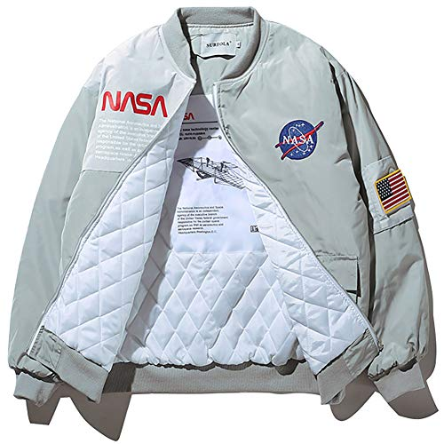 Mens Casual Moto Biker Grey Cotton NASA Jacket