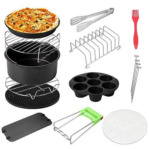 Jerilla 12 Stück Air Fryer(8 Zoll)Zubehör für Air Friteuse 4.2QT-6.8QT - Kuchen-Fass Pizzaplatte Grill Rack Heim Küche DIY Kochwerkzeuge
