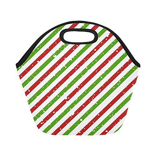 JOCHUAN isolé Neoprene Lunch Bag De Noël Diagonal Rayé Rouge Vert Lignes De Grande Taille Réutilisable Thermique Épais Sacs À Lunch Thermiques pour Les Boîtes À Lunch pour À L'extérieur