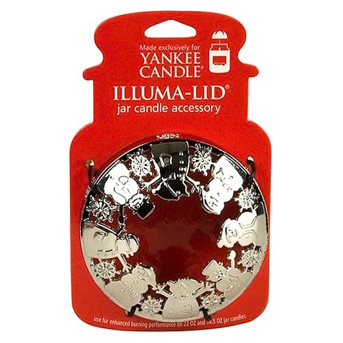 Yankee Candle - Coperchio Illuma Lid, Motivo: Pupazzi di Neve in Argento