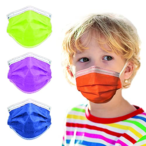 4-Ply Breathable Kids Disposable Face Mask - Made in USA - Highest Protection with Comfortable Elastic Ear Loop   For Travel, Offices, Business and Personal Care - Tangerine Orange (50 PCS)