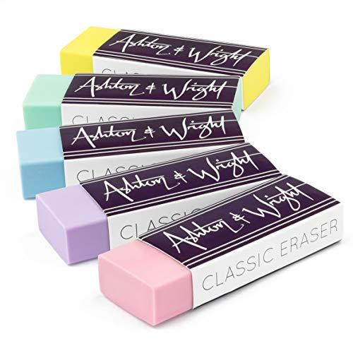 Ashton and Wright - Goma de borrar clásica, sin látex, goma plástica, paquete de 5 unidades, color pastel