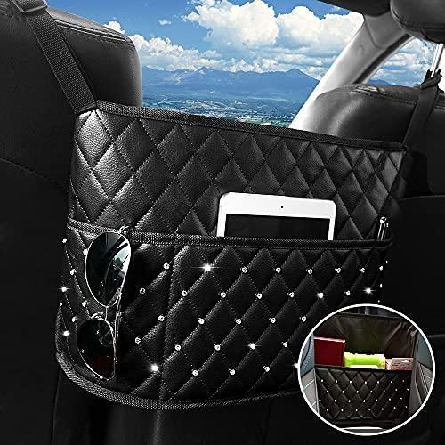 ShauBaby Premium Purse Holder for Car Between Seats Large Capacity Car Net Pocket Handbag Holder Leather Bling Handbag Holder for Car, Car Organizers and Storage for Women (Diamond - Black)