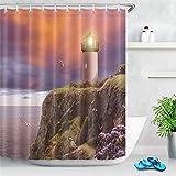 Tong XIN Costa Faro Gaviota Puesta de Sol Nubes oscuras Protección de la privacidad, Cortina de Ducha Decorativa con impresión en Color 180X180cm