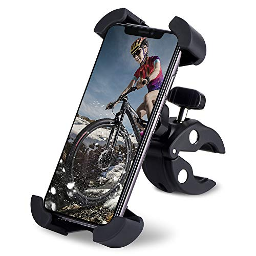 Adiport Soporte Movil Bicicleta, Rotación 360°Soporte para teléfono ,Soporte para teléfono Celular con diseño de Fibra para iPhone Samsung,4.5 '-7.0' Smartphones