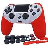 RALAN Skin - Funda de silicona para controlador PS4, compatible con PS4 Slim/PS4 Pro Controller (1 funda para controlador con 8 tapas de agarre para pulgar FPS Pro y 4 tapones de agarre de pata).