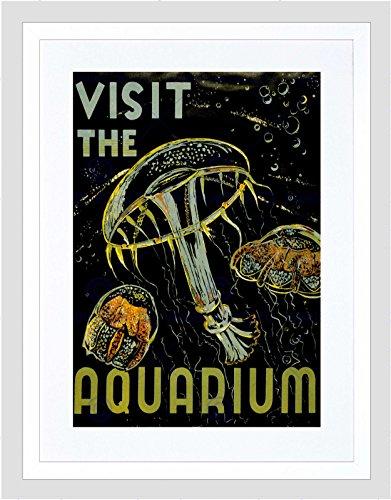 Wee Blauwe Coo Advertenties Bezoek Aquarium Marine Wezens Jellyfish Bubbles Omlijst Muur Art Print