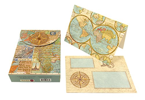 Punch Studio World Atlas Decorative Pouch Note Cards