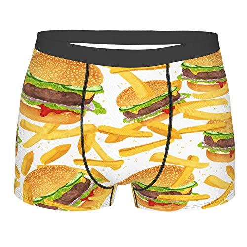 MJIAX Männerunterwäsche,Hamburger Pommes Bettwäsche 3D Giant Burger 3 Stück Spaß Fast Food Kreative Tagesdecken, Boxershorts Atmungsaktive Komfortunterhose Größe XL