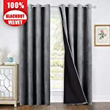 StangH Blackout Velvet Curtains Gray - Stylish Total Darkness Thermal Lined Patio Sliding Glass Door Curtains Heat & Chill Resistant for Cost Saving, Grey, 52 x 96-inch, 1 Pair