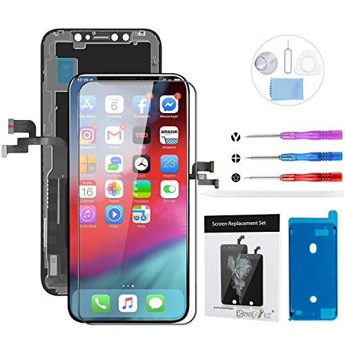 """Beefix Pantalla para iPhone X 5.8"""" Táctil OLED Digitalizador de Ensamblado con Kit de Reparacion Incluye Vidrio Templadoy Kit Completo de Herramientas"""