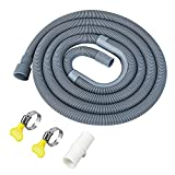 GCGOODS Universal Washing Machine Drain Hose, 6 Ft Flexible Dishwasher Drain Hose Extension Kit Corrugated Washer Discharge Hose with 1 Extension Adapter, 1 U-Bend Hose Holder and 2 Hose Clamps