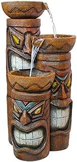 Design Toscano SS11521 Aloha Tiki 3 Bowl Garden Decor Cascading Fountain Water Feature, 29 Inch, Full Color