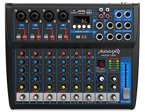 Audibax MG08-USB - Mesa de Mezclas con 8 Canales, con Conexión Bluetooth, Reproductor MP3 y Entrada USB Rec, Mesa DJ con Efectos, Indicador LED, Mesa Mezclas con Varios Controles