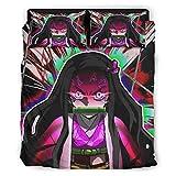 Xuanwuyi Nezuko Blood Demon 4 piezas Coverlet Set suave con 2 fundas de almohada decorativas para dormitorio principal blanco 228 x 228 cm