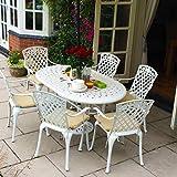 Lazy Susan - June 150 x 95 cm Ovaler Gartentisch mit 4 Stühlen - Gartenmöbel Set aus Metall, Weiß (Rose Stühle)