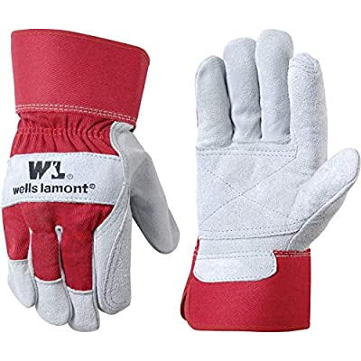 Heavy Duty Double Leather Palm Work Gloves with Safety Cuff, Extra Large (Wells Lamont 4050)