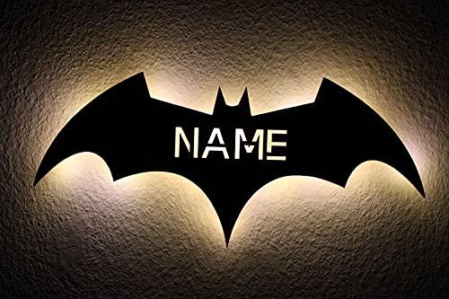 LEON-FOLIEN Batman LED personalizable con nombre personalizado, luz de noche para dormitorio o salón #B6