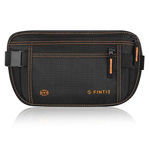 Fintie heuptas met RFID-blokkering en 1 heupgordel voor dames en heren – strakke en waterafstotende portemonnee, heuptas voor sport, reizen en joggen, zwart