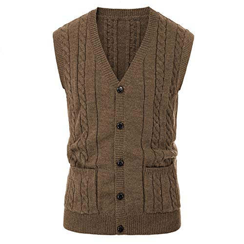 Autumn Winter Long Sleeve Tank Tops Loose Solid Button Fit Mens V Neck Knitting Vest,Coffee,M