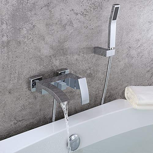 JinYuZe Modern Brass Waterfall Wall-Mount Bath Tub Filler Faucet with Handheld Shower Head (with Hand Shower) (Chrome)