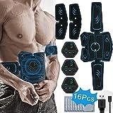 PHANXY EMS Trainingsgerät Muskelstimulation Elektrostimulation Elektrische Bauchmuskeltrainer für Trainings Gang 14 Pads Gel