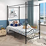 Canopy Bed Frame Platform Metal Bed Heavy Duty Steel Slat and Support with Headboard and Footboard No Box Spring Required (Twin, Black)