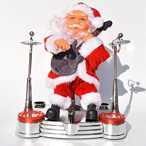JFZCBXD Elektrische Weihnachten Figurine Ornament Dekoration Geschenke elektrische Musik Weihnachtsmann Schlagzeug/Gitarre/Klavier/Schlag Saxophon, Dekorationen für Kinder Geschenke,Playingguitar