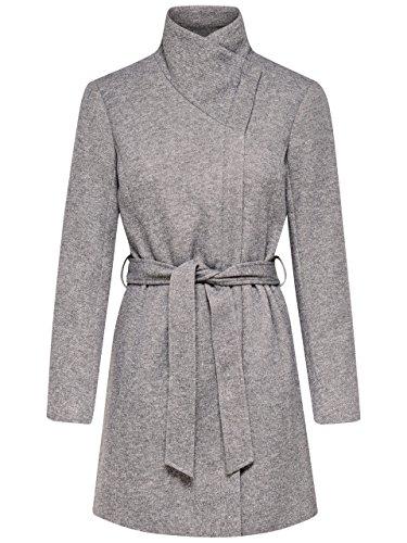 ONLY Damen Mantel Jacke onlELLI Light Melange Coat OTW Trenchcoat Kurzmantel Übergang (grau (Light Grey Melange), L)