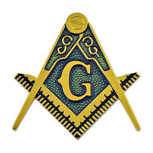 Emblema automático maçônico quadrado e bússola – [Ouro e azul][60 cm de altura]