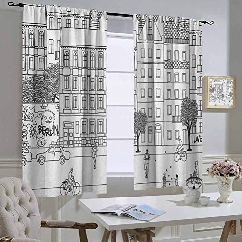 hengshu Thermal Insulated Curtain GermanMonochrome Sketch of Berlin Square Hand Drawn Urban Scene with People Image, Living Room Decor Black and WhiteW55 x L45 inch