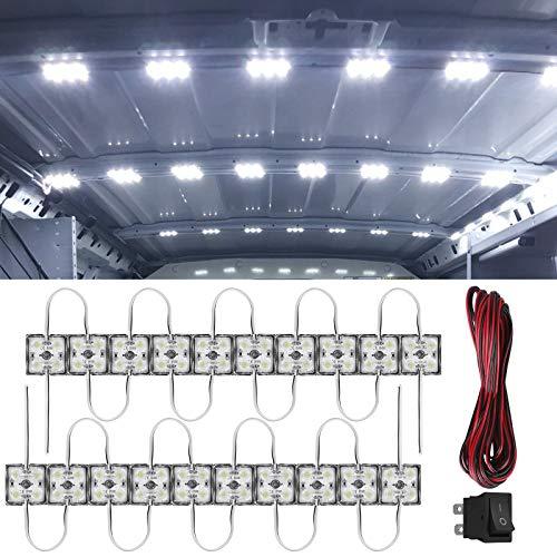 Linkstyle 20 x 4 LED Auto Innenbeleuchtung Kits mit Kabel und Schalter 12V wasserdichte Autoinnenbeleuchtung Deckenleuchten für Van LKW RV Bus Caravan Boot Transit Wohnmobil (20 Module, weiß)